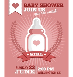 Baby Girl Bottle Invitation vector image vector image
