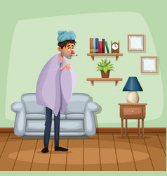 background living room home with cold sickness vector image vector image