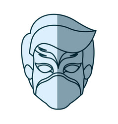 Blue silhouette with face of boy superhero with vector