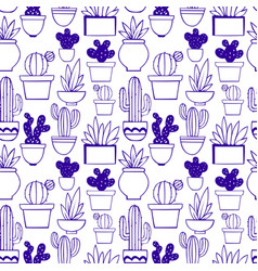 Cactus decorative seamless pattern vector