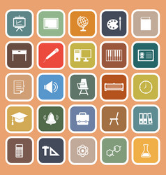 Classroom flat icons on orange background vector