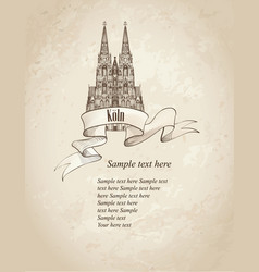 cologne landmark sketch germany retro background vector image vector image