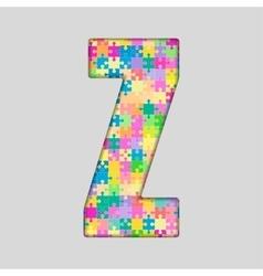 Color piece puzzle jigsaw letter - z vector