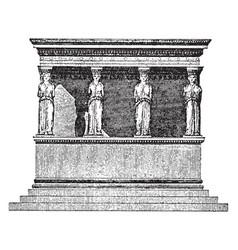 Coryatic portico temple in acropolic vintage vector