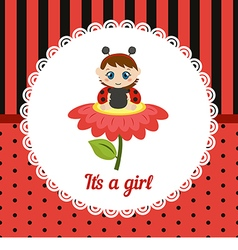 Cute baby girl card vector image