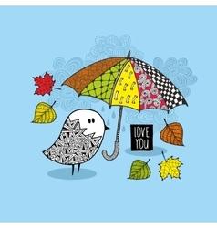 Cute doodle bird under the colorful umbrella vector