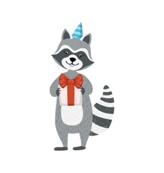 Cute raccoon character in party hat holding a vector