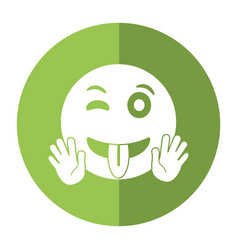 Eyewink and tongue emoticon style icon shadow vector
