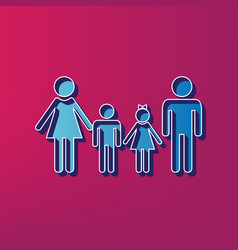 Family sign blue 3d printed icon on vector