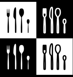 Fork spoon and knife sign black and white vector