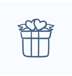 Gift box with hearts sketch icon vector image vector image