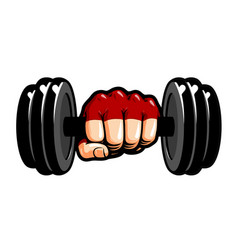 heavy dumbbell in hand cartoon gym bodybuilding vector image