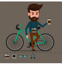 Hipster character with bicycle vector image vector image