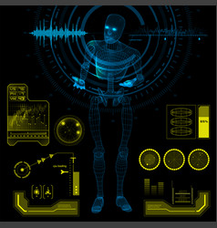 humanoid robot in a questioning pose with hud vector image vector image