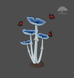 icon of blue fantasy mushroom with butterfly vector image