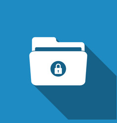 Locked folder icon isolated with long shadow vector