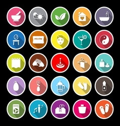 Massage flat icons with long shadow vector