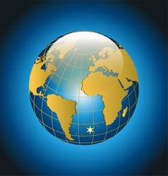 Modern globe on blue background vector