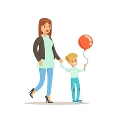 Mom and son walking outdoors loving mother vector