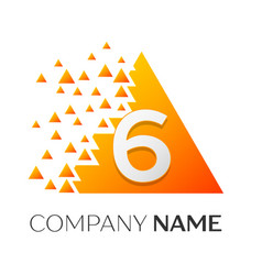 number six symbol on colorful triangle vector image vector image