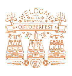 oktoberfest design welcome to the beer festival vector image