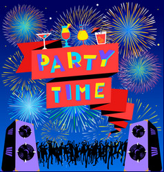 Party time lettering on banner disco clud poster vector