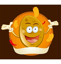 potato chips mascot vector image vector image
