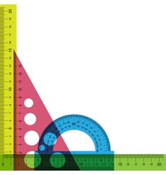 Ruler protractor and triangle with simulated vector image vector image