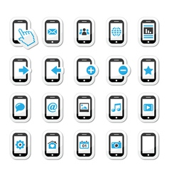 Smartphone mobile or cell phone icons set vector image