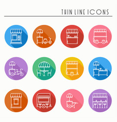 Street food retail thin line icons set food truck vector