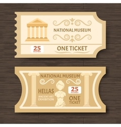 Two vintage museum tickets vector