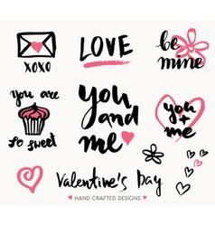 Valentines day typographic designs vector