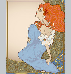 vintage cover with art-nouveau style lady vector image