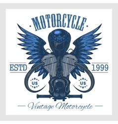 Vintage motorcycle print monochrome on white vector