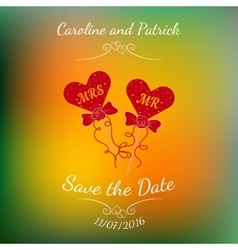 wedding hearts MR and MRS on a stick over vector image