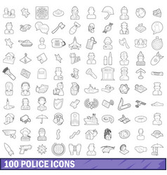 100 police icons set outline style vector image