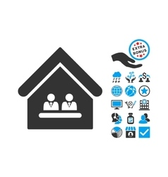 Management office flat icon with bonus vector
