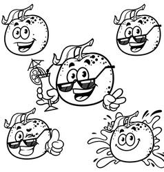 Set cartoon character - happy orange outline on a vector