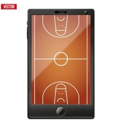 Smartphone with a basketball field on the screen vector