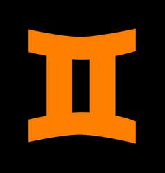 gemini sign orange icon on black background old vector image