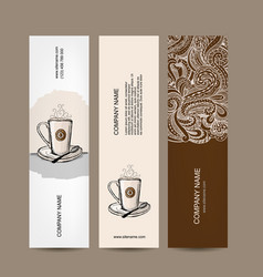 banners design with coffee cup vector image