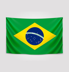 Hanging flag of brazil federative republic of vector