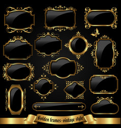 golden ornate frames in vintage style vector image