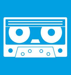 Audio cassette tape icon white vector