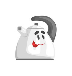 Funny kettle character with smiling face vector