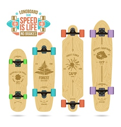 Set of camp emblems on longboard vector