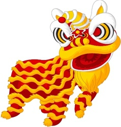 Cartoon chine lion mascot vector image