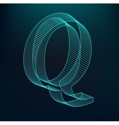 The letter q polygonal letter low poly model vector