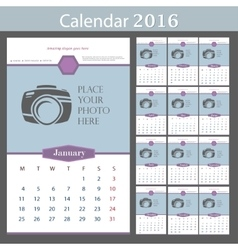 Wall calendar 2016 template with place for vector