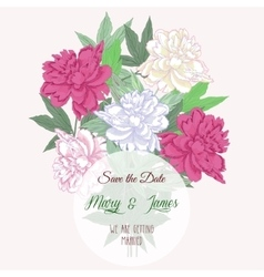 Bouquet with two pink and white peonies vector